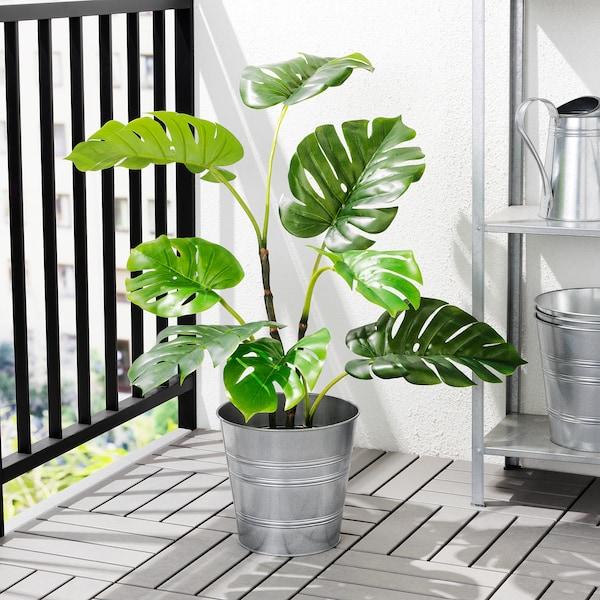 FEJKA Pianta artificiale con vaso, da interno/esterno monstera, 19 cm