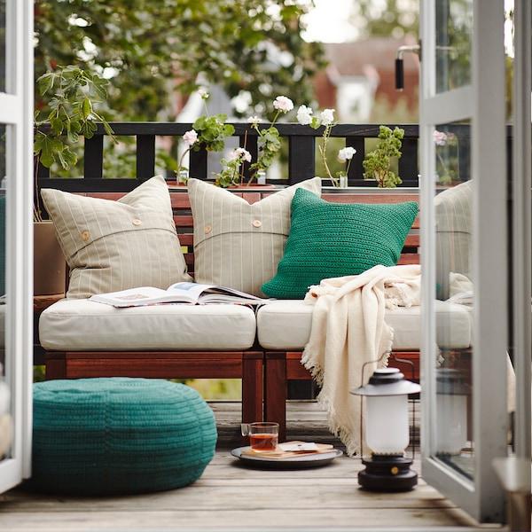 FESTHOLMEN Fodera per cuscino, da interno/esterno/beige, 50x50 cm