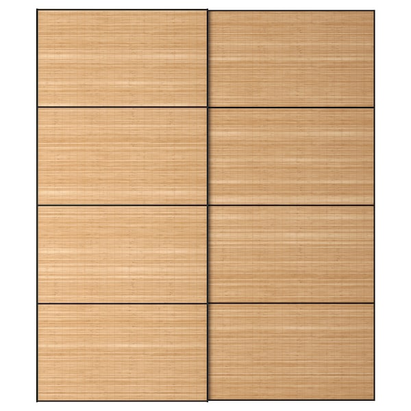 FJELLHAMAR Coppia di ante scorrevoli, bambù scuro, 200x236 cm