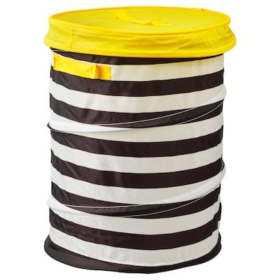 FLYTTBAR Cestino con coperchio, giallo