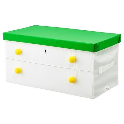 FLYTTBAR Scatola con coperchio, verde/bianco, 79x42x41 cm