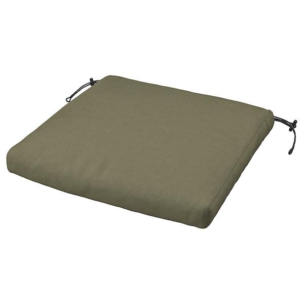 FRÖSÖN/DUVHOLMEN Cuscino per sedia da esterno, beige-verde scuro, 44x44 cm