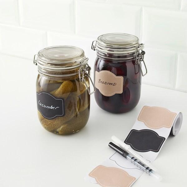 GIVANDE etichette autoadesive nero naturale/bianco 7.5 cm 6 cm 90 pezzi