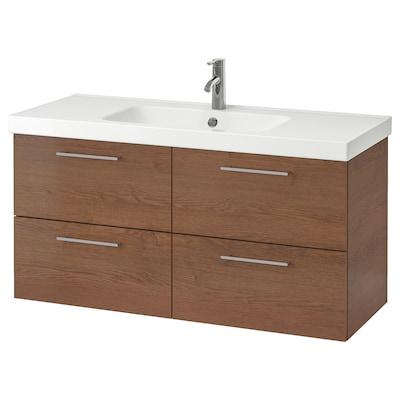 GODMORGON / ODENSVIK Mobile per lavabo con 4 cassetti, effetto frassino mordente marrone/Miscel Dalskär, 123x49x64 cm