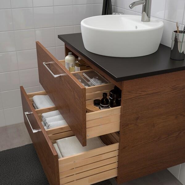 GODMORGON/TOLKEN / TÖRNVIKEN Mobile/lavabo 45/piano appoggio, effetto frassino mordente marrone/antracite Miscel Dalskär, 82x49x74 cm