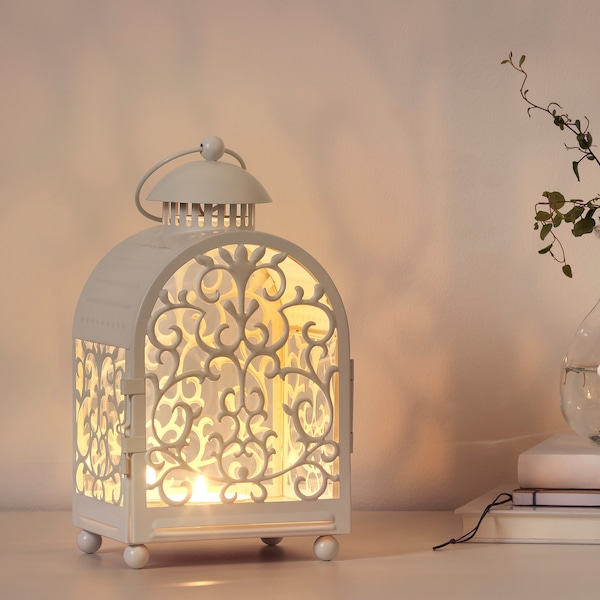GOTTGÖRA Lanterna per candela/base metallo, da interno/esterno bianco, 26 cm