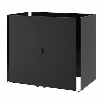 GRILLSKÄR Anta/montanti/pannello di fondo, nero/inox da esterno, 86x61 cm