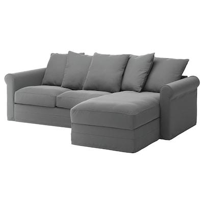GRÖNLID Divano a 3 posti, con chaise-longue/Ljungen grigio fumo