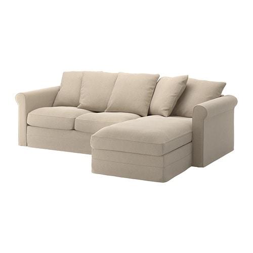 GRÖNLID Divano a 3 posti - con chaise-longue/Sporda naturale - IKEA