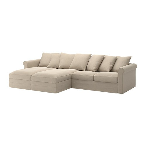 GRÖNLID Divano a 4 posti - con chaise-longue/Sporda naturale - IKEA
