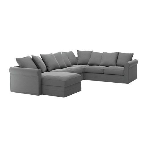 GRÖNLID Divano angolare a 5 posti - con chaise-longue/Ljungen grigio ...