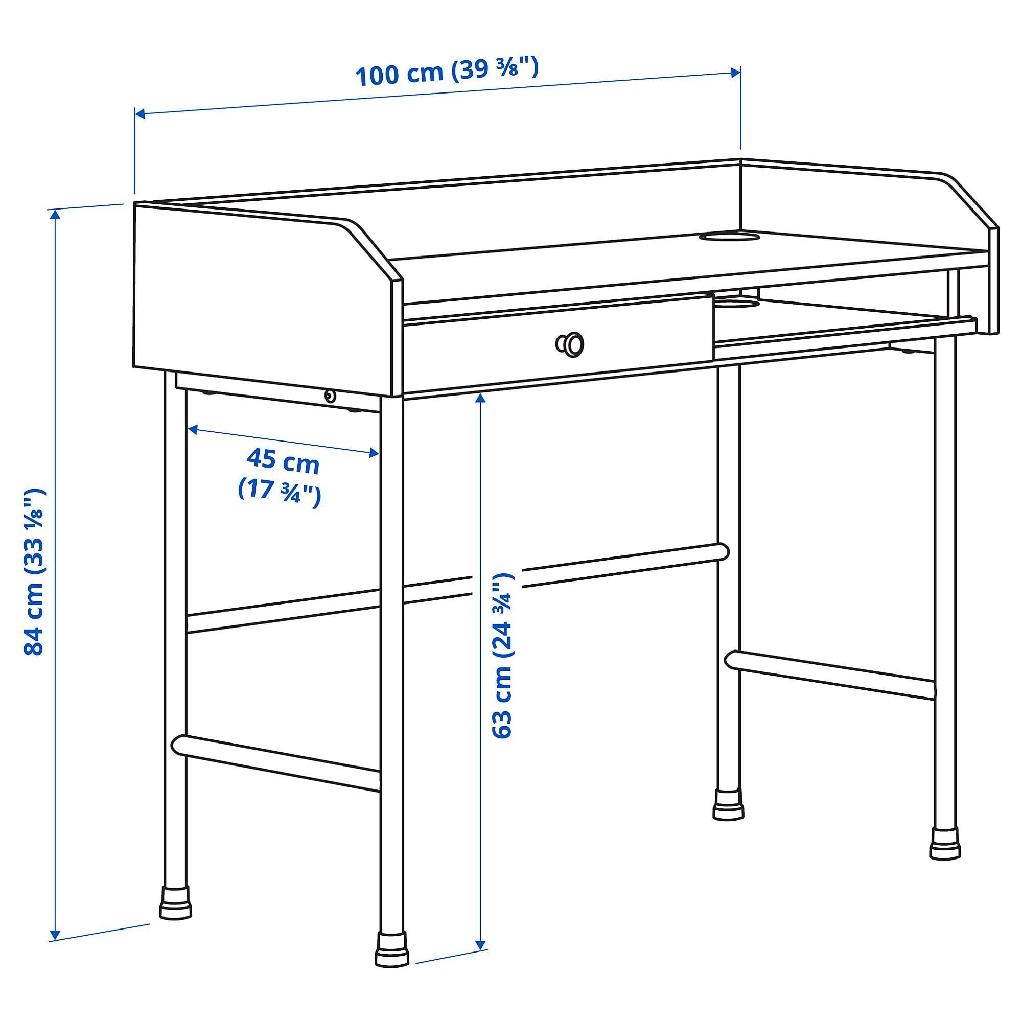 HAUGA Scrivania, grigio, 100x45 cm - IKEA Svizzera