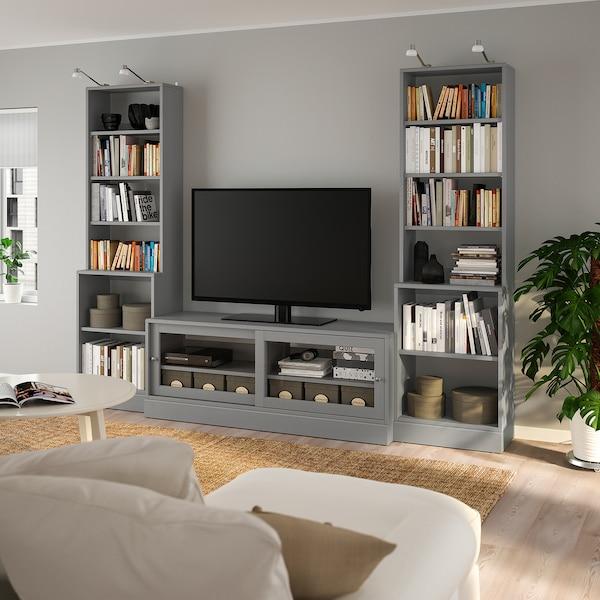 HAVSTA Combinazione per TV, grigio, 282x47x212 cm