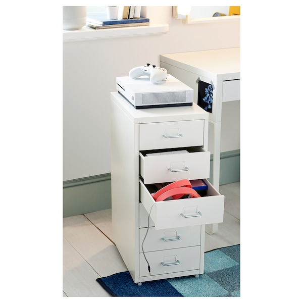 HELMER Cassettiera con rotelle, bianco, 28x69 cm