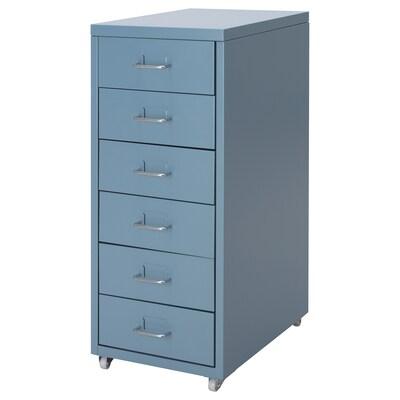 HELMER Cassettiera con rotelle, blu, 28x69 cm