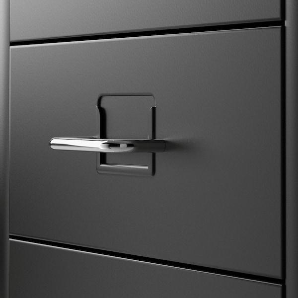 HELMER Cassettiera con rotelle, nero, 28x69 cm