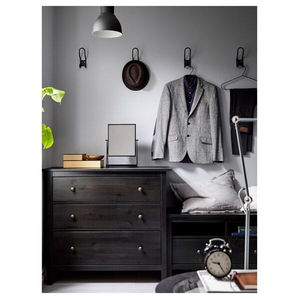 HEMNES Cassettiera con 3 cassetti, marrone-nero, 108x96 cm