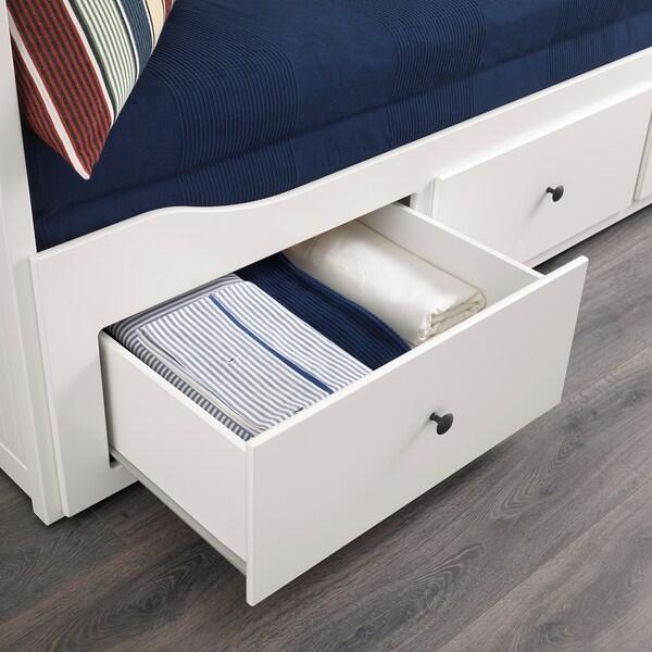 HEMNES Letto divano/3 cassetti/2 materassi, bianco/Malvik semirigido, 80x200 cm