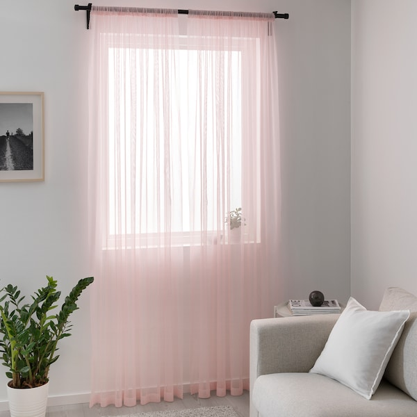 HILDRUN tenda sottile, 2 teli rosa/a pois 300 cm 145 cm 0.62 kg 4.35 m² 2 pezzi