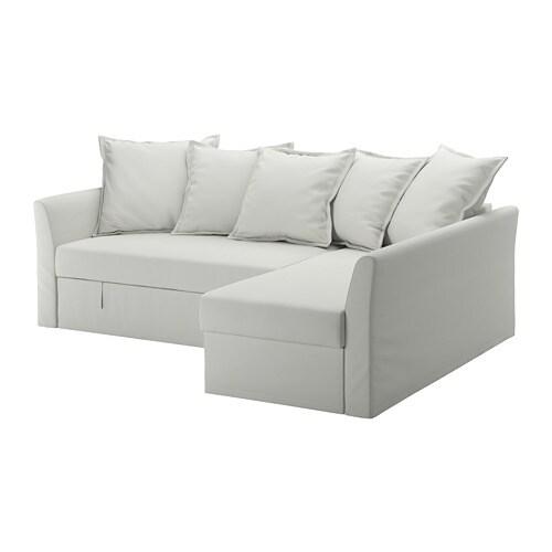 HOLMSUND Divano letto angolare - Orrsta grigio-bianco chiaro - IKEA
