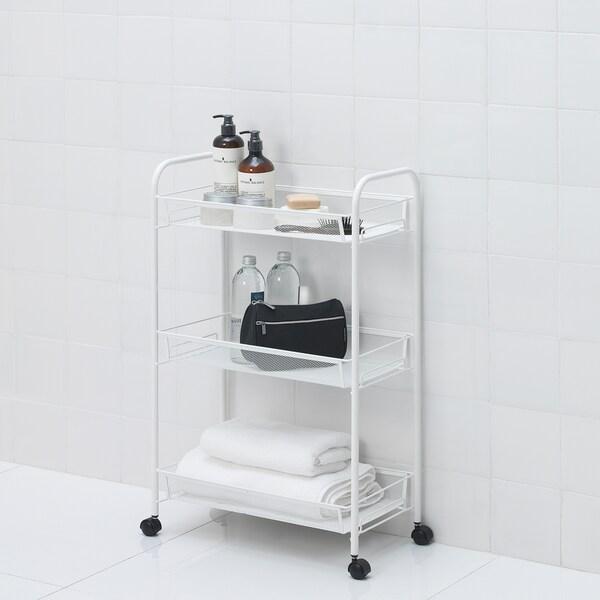 HORNAVAN Carrello, bianco, 26x48x77 cm