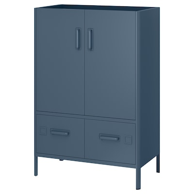 IDÅSEN Mobile con ante e cassetti, blu, 80x47x119 cm