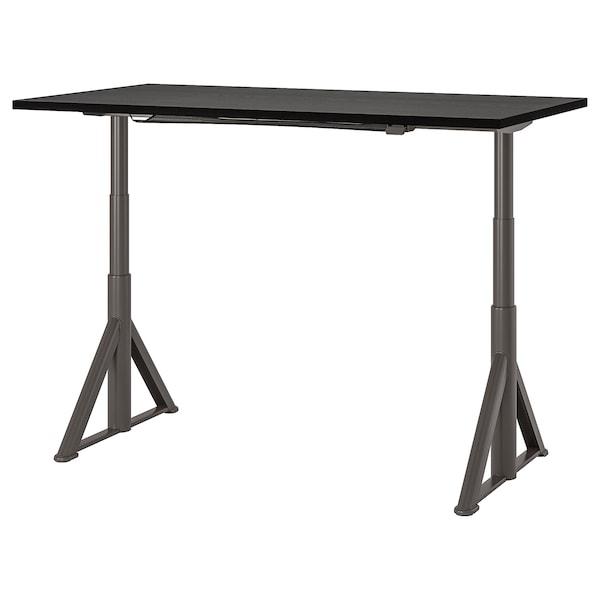 IDÅSEN Scrivania regolabile in altezza, nero/grigio scuro, 160x80 cm