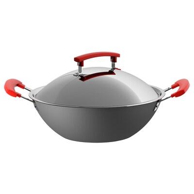 IDENTISK wok con coperchio grigio scuro/alluminio 10 cm 32 cm