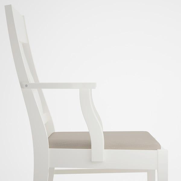 INGATORP Sedia con braccioli, bianco/Nordvalla beige