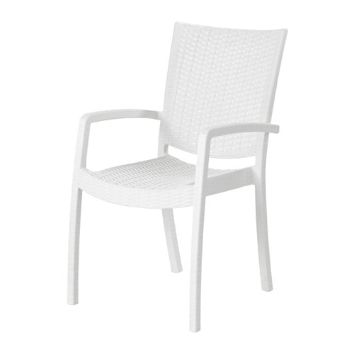 Innamo sedia con braccioli da giardino bianco ikea for Mobili da giardino pvc