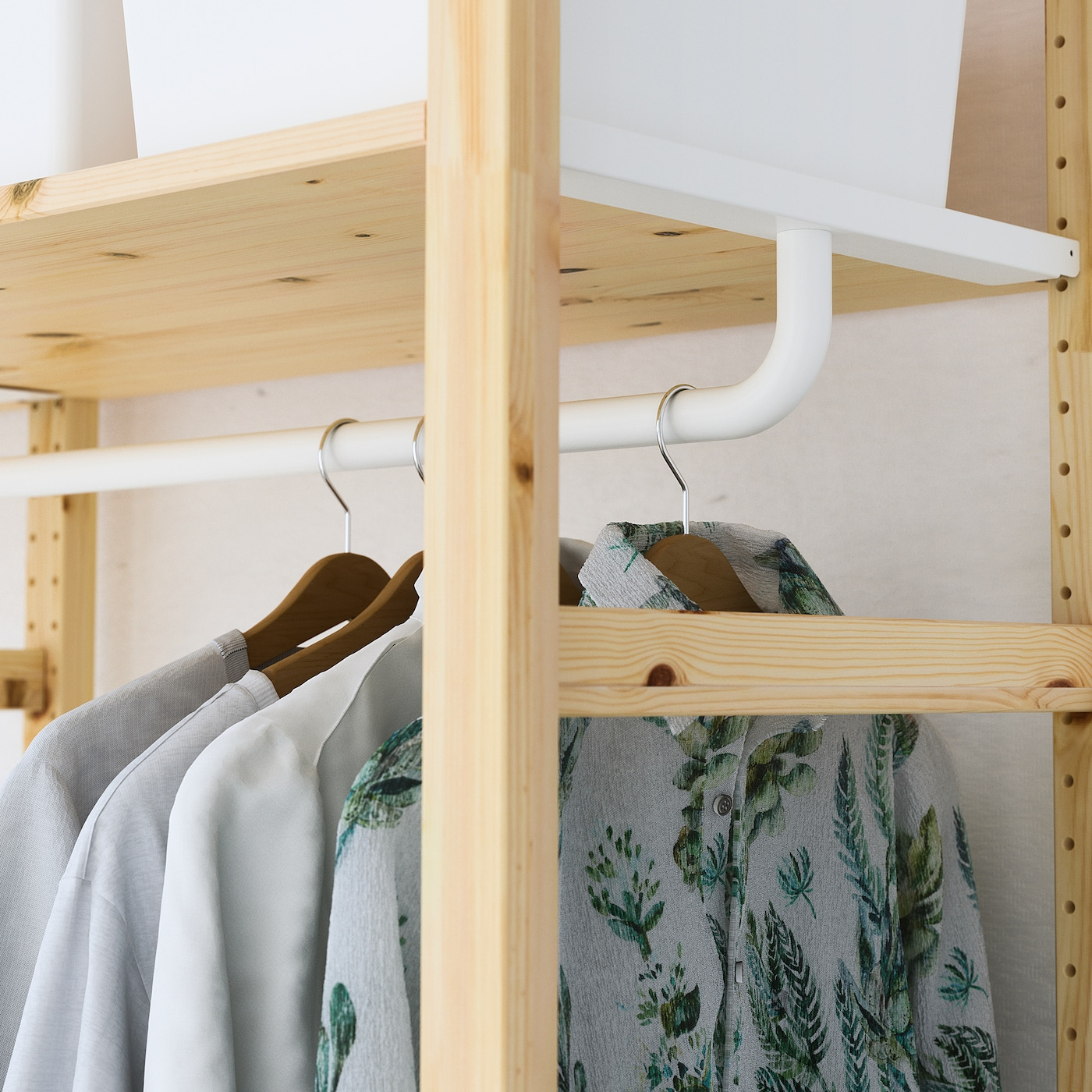 Ikea Scaffali Legno Ivar ivar scaffale con bastone appendiabiti 174x50x226 cm