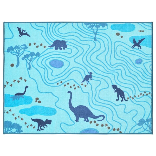 JÄTTELIK Tappeto, sagome di dinosauri/blu, 100x133 cm