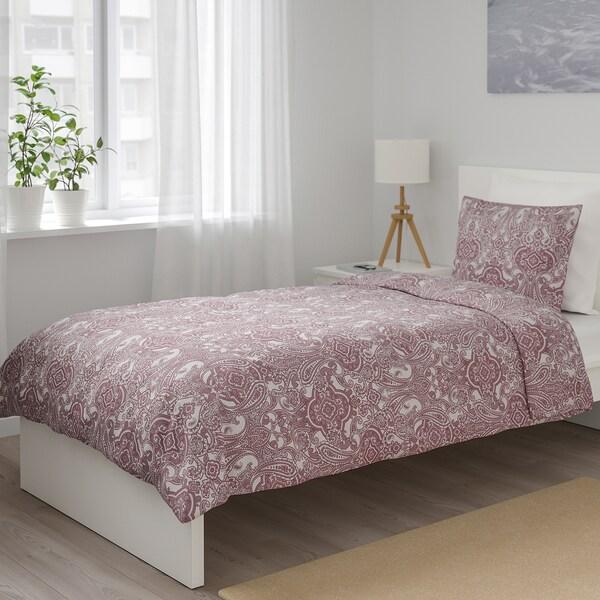 JÄTTEVALLMO Copripiumino e federa, bianco/rosa scuro, 150x200/50x60 cm