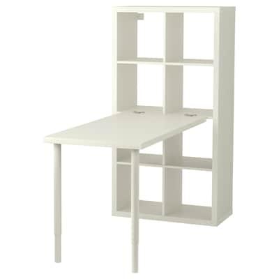 KALLAX Combinazione con scrivania, bianco, 77x147x159 cm