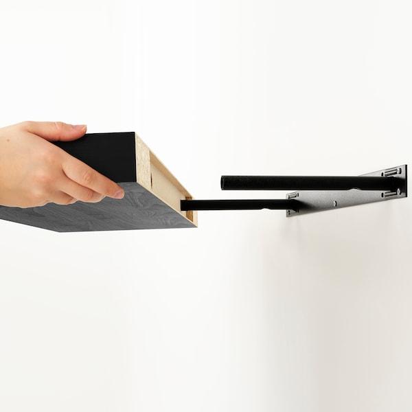 KALLAX / LACK Combinazione con ripiano, marrone-nero, 231x39x147 cm