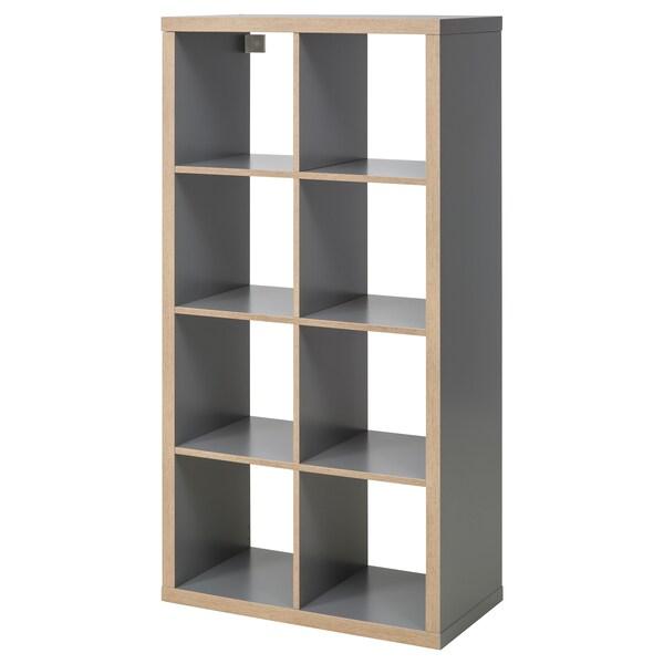 KALLAX Scaffale, grigio/effetto legno, 77x147 cm