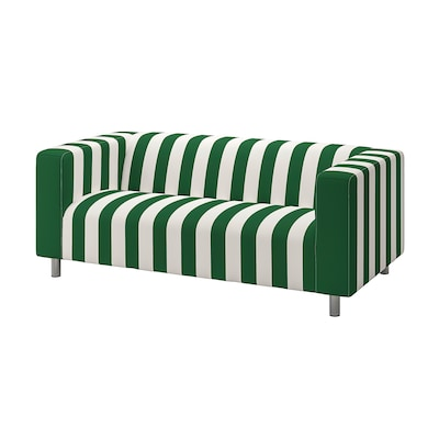 KLIPPAN Fodera per divano a 2 posti, Radbyn verde/bianco