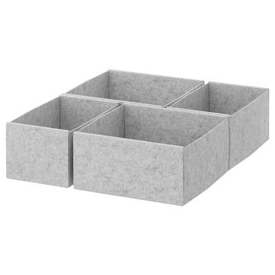 KOMPLEMENT Set di 4 scatole, grigio chiaro, 50x58 cm