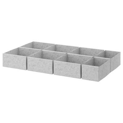 KOMPLEMENT Set di 8 scatole, grigio chiaro, 100x58 cm