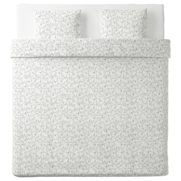 KOPPARRANKA Copripiumino e 2 federe, bianco/grigio scuro, 220x240/50x60 cm
