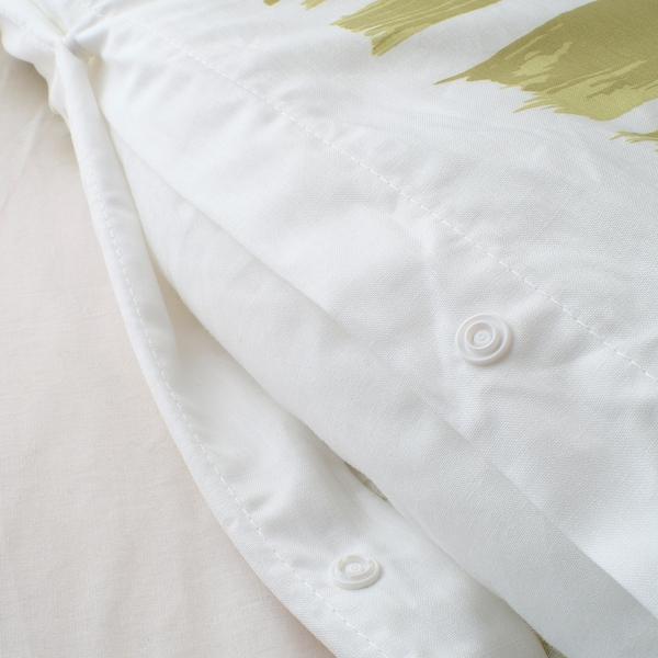 KRANSRAMS Copripiumino e 2 federe, bianco/verde, 240x220/50x60 cm
