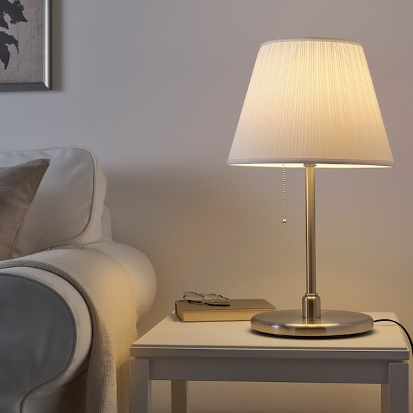 KRYSSMAST base per lampada da tavolo nichelato 13 W 40 cm 24 cm 200 cm