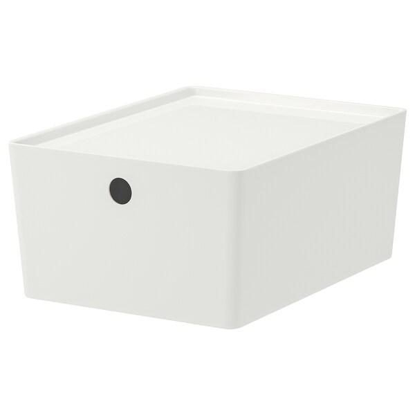 KUGGIS Contenitore con coperchio, bianco, 26x35x15 cm