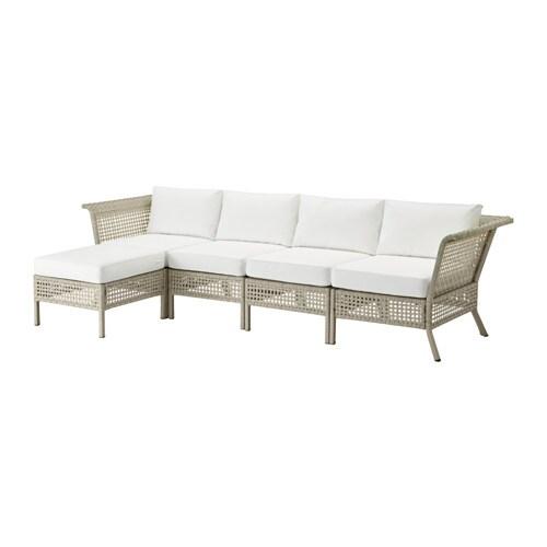 Kungsholmen kungs divano 4 posti poggiapiedi esterno grigio chiaro bianco ikea - Divano bianco ikea ...