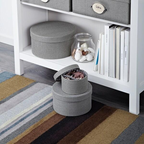 KVARNVIK Set di 3 scatole, grigio