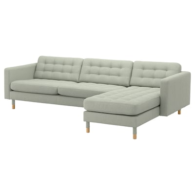 LANDSKRONA divano a 4 posti con chaise-longue/Gunnared verde chiaro/legno 158 cm 282 cm 89 cm 78 cm 64 cm 180 cm 61 cm 44 cm