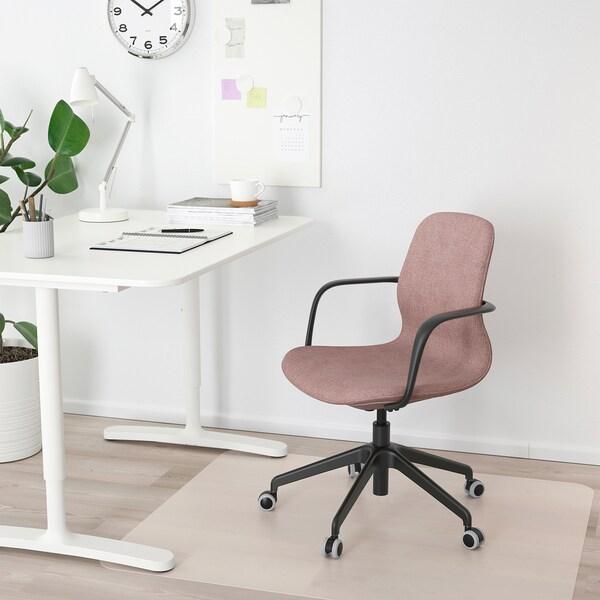 LÅNGFJÄLL sedia da ufficio con braccioli Gunnared marrone chiaro-rosa/nero 110 kg 68 cm 68 cm 92 cm 53 cm 41 cm 43 cm 53 cm
