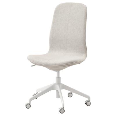 LÅNGFJÄLL Sedia da ufficio, Gunnared beige/bianco