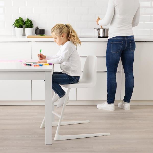 LANGUR Sedia junior/seggiolone con vassoio, bianco