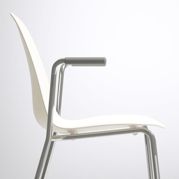 LEIFARNE Sedia con braccioli, bianco/Dietmar cromato